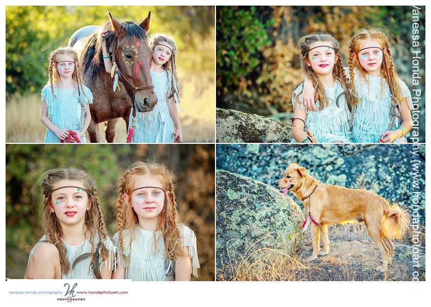 Native American Indian girls horse and dog Styled Shoot Orange County Photographer