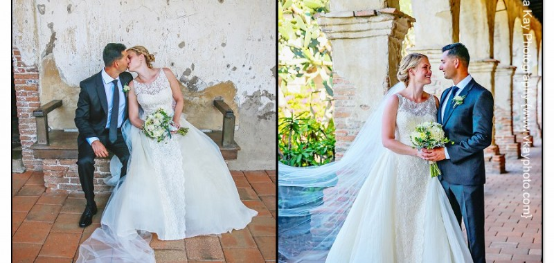 Formal bridal portraits at San Juan Capistrano Mission