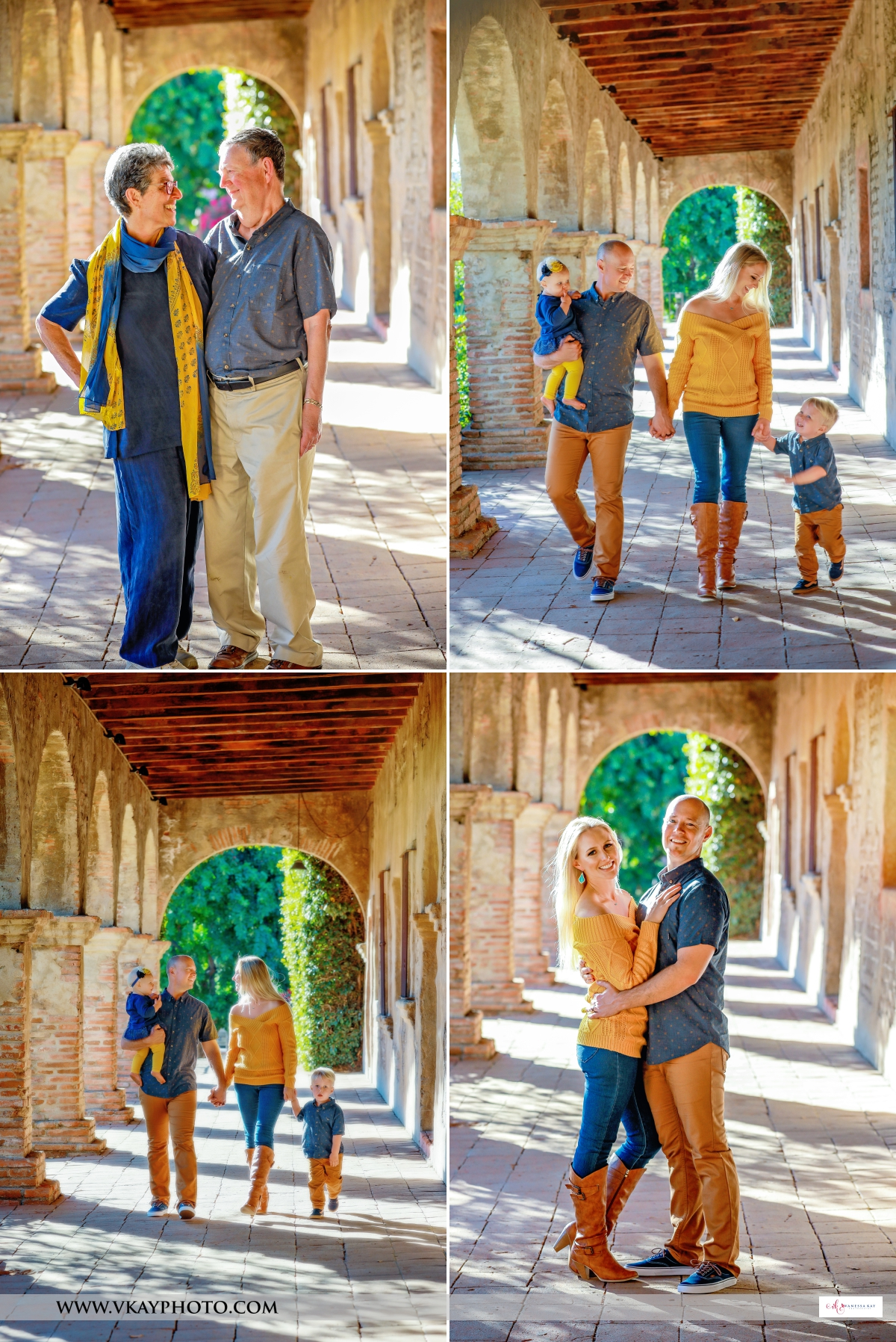 couples and families walking and posing at san juan capistrano